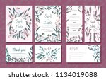wedding card templates set with ... | Shutterstock .eps vector #1134019088