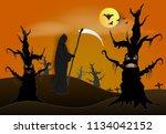 paper art of grim reaper in...   Shutterstock .eps vector #1134042152
