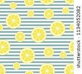 lemon seamless pattern. yellow... | Shutterstock .eps vector #1134052082