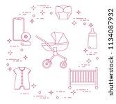 goods for babies. stroller ... | Shutterstock .eps vector #1134087932