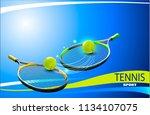 vector tennis ball. a realistic ... | Shutterstock .eps vector #1134107075