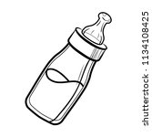 sketch baby bottle with milk... | Shutterstock . vector #1134108425