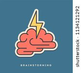 brainstorming sticker. thin... | Shutterstock .eps vector #1134121292