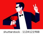 businessman with trophy cup... | Shutterstock .eps vector #1134121988