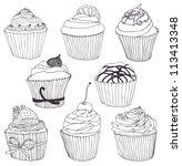 cupcake set | Shutterstock .eps vector #113413348
