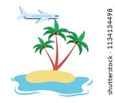 beach ocean coconut palms...   Shutterstock .eps vector #1134134498