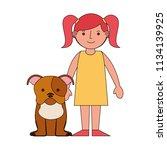 little girl with her pet dog | Shutterstock .eps vector #1134139925