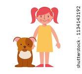 little girl with dog mascot... | Shutterstock .eps vector #1134143192