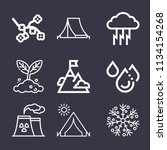 set of 9 nature outline icons... | Shutterstock . vector #1134154268