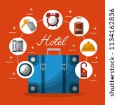 hotel building taxi and suitcase | Shutterstock .eps vector #1134162836