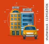 hotel buildings taxi service... | Shutterstock .eps vector #1134163436