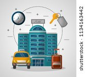 hotel building taxi and... | Shutterstock .eps vector #1134163442