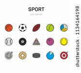 sport flat icon set color | Shutterstock .eps vector #1134164198