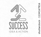 success hand crafted logo with... | Shutterstock .eps vector #1134167816