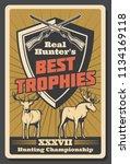 best hunter trophy retro poster ... | Shutterstock .eps vector #1134169118