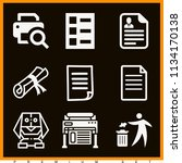 set of 9 paper filled icons... | Shutterstock . vector #1134170138