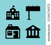filled buildings icon set such... | Shutterstock .eps vector #1134176372