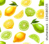 watercolor hand drawn fruit... | Shutterstock . vector #1134180155