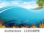 Coral Reef With Fish And...