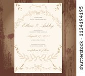 wedding invitation with floral... | Shutterstock .eps vector #1134194195