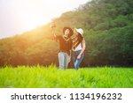 two beauty woman selfie happily ... | Shutterstock . vector #1134196232