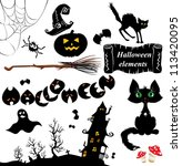 set of  halloween elements  ... | Shutterstock . vector #113420095