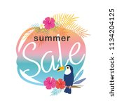 summer sale illustration with... | Shutterstock .eps vector #1134204125