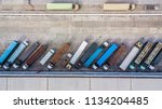 aerial top view of truck and... | Shutterstock . vector #1134204485