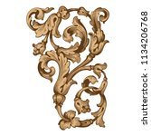 retro baroque decorations... | Shutterstock .eps vector #1134206768