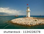 lighthouse in the port of... | Shutterstock . vector #1134228278