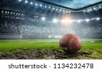 rugby game concept. mixed media | Shutterstock . vector #1134232478