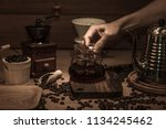 drip coffee set on table wooden ... | Shutterstock . vector #1134245462