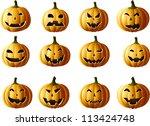 set of jack o lanterns isolated ... | Shutterstock .eps vector #113424748