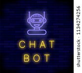 neon chat bot on blue brick...