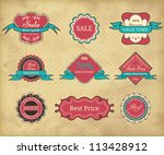 set of vintage frames on grunge ... | Shutterstock .eps vector #113428912