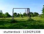 lonely goal in neglected and... | Shutterstock . vector #1134291338
