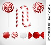 a set of red ad white delicious ... | Shutterstock .eps vector #113429242