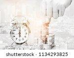double exposure of hand putting ... | Shutterstock . vector #1134293825