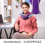 young fashion designer working... | Shutterstock . vector #1134299162