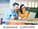 two people having small... | Shutterstock . vector #1134313505
