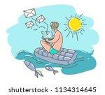 a man on a swimming mattress... | Shutterstock . vector #1134314645