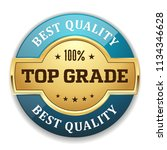 blue top grade badge with gold... | Shutterstock .eps vector #1134346628