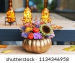 beautiful flower arrangement in ...   Shutterstock . vector #1134346958