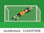 football goalkeeper catching a... | Shutterstock .eps vector #1134357698