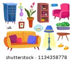 a large set of furniture and...   Shutterstock .eps vector #1134358778