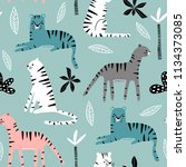 seamless pattern with tigers ... | Shutterstock .eps vector #1134373085