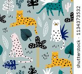 seamless pattern with leopards  ... | Shutterstock .eps vector #1134373532