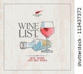 wine list menu card design... | Shutterstock .eps vector #113437372
