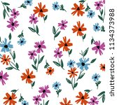 spring flower pattern | Shutterstock .eps vector #1134373988