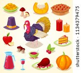 set of colorful cartoon object... | Shutterstock .eps vector #1134379475